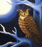 Moonlit Night Posters - Great Horned Owl Poster by Morgan Leshinsky