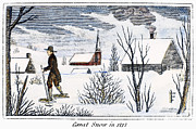New England Village Framed Prints - Great Snow Of 1717 Framed Print by Granger