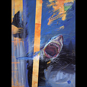 Shark Drawings - Great White Shark by Tina McCurdy
