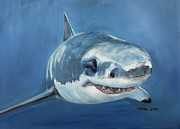 Deepsea Paintings - Great White by Terry Lewey