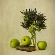 Flower Still Life Posters - Green Apples And Blue Thistles Poster by Priska Wettstein