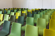 Empty Chairs Prints - Green Chairs in a Presentation Room Print by Jaak Nilson