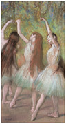Ballerinas Pastels Metal Prints - Green Dancers Metal Print by Edgar Degas
