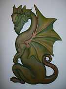 Plaque Sculpture Posters - Green Dragon Plaque Poster by Shane Tweten