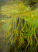 Olga Paintings - Green reflections by Olga Zamora