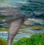 Storms Painting Originals - Green Skies of Tennessee by Annamarie Sidella-Felts