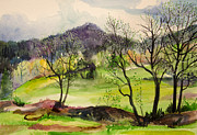 Watercolor  Drawings - Green spring by Slaveika Aladjova