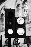 Traffic Control Photo Posters - Green Traffic Light Signal With No Right Turn Except Buses Taxis Cycles And Authorised Vehicles Glas Poster by Joe Fox