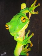 Frog Paintings - Green Tree Frog -Weipa by Una  Miller