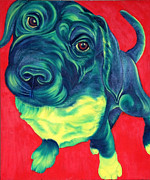 Dog Paw Paintings - Green with Envy by Gail Mcfarland