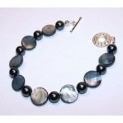 Handcrafted Jewelry - Grey Blue Shell Bracelet by Kelly DuPrat
