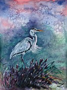 Grey Heron Posters - Grey heron in the reeds Poster by Zaira Dzhaubaeva