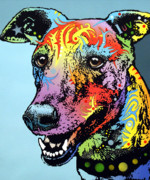 Animal Art Print Mixed Media Posters - Greyhound LUV Poster by Dean Russo