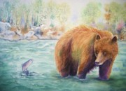 Salmon Fishing Paintings - Grizzly Catch by Patricia Pushaw
