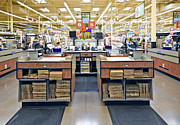 Shopping Bags Prints - Grocery Store Checkout Counters Print by David Buffington