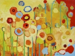 Red Canvas Posters - Growing in Yellow No 2 Poster by Jennifer Lommers