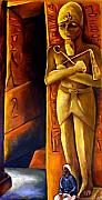 Pharaoh Painting Prints - Guardian Of The Tomb Print by Carmen Cordova