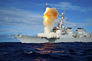 Surface-to-air Framed Prints - Guided Missile Destroyer Uss Hopper Framed Print by Stocktrek Images