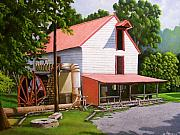 Old Mills Paintings - Guilford Mill by Larry Hoskins