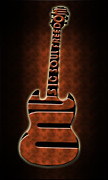 Electric Framed Prints Prints - Guitar in brown Print by Lj Lambert