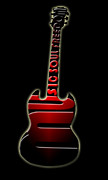 Electric Framed Prints Prints - Guitar in Red Print by Lj Lambert