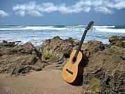 Puerto Rico Digital Art Prints - Guitar Seascape Print by Tony Rodriguez
