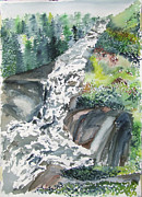 Jan Anderson Watercolors - Gulf Hagas Waterfall by Jan Anderson