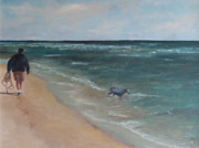 Dog Swimming Paintings - Gulf Shores by Julie Dalton Gourgues