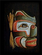 Native Art Pyrography Posters - Haida Mask Poster by Cynthia Adams