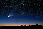 Hale-bopp Comet Prints - Hale Bopp And Observatories, Hawaii Print by David Nunuk