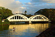 Canoe Posters - Haleiwa Bridge Poster by Paul Topp
