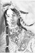 Cowboy Pencil Drawings Framed Prints - Half Breed Framed Print by Derek Hayes