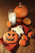 Black Spider Prints - Halloween cookies with a glass of milk Print by Sandra Cunningham