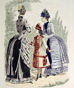Gray Dress Posters - Hand-colored Engraving Of Two Women Poster by Everett