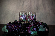 Hand Painted Wine Glasses Grapes And More Grapes  Print by Sherry Hallemeier