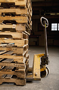 Factories Posters - Hand Truck and Wooden Pallets Poster by Shannon Fagan