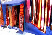 Rugs Posters - Handknotted traditional moroccan carpets on display for Sale Poster by Ralph Ledergerber