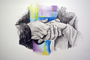 Hands Drawings Prints - Hands 6 Print by Francoise Dugourd-Caput