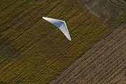 Sports Fields Framed Prints - Hang Glider Soars Over The Countryside Framed Print by Skip Brown