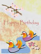 Baby Bird Digital Art - Happy Birthday Card by Karen Musick