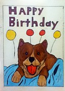 Corgi Drawings - Happy  Birthday by Kiam Johnson