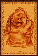 Buddha Sketch Prints - Happy Buddha Print by RJ Roskom