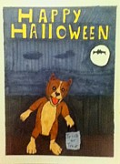 Corgi Drawings - Happy Halloween by Kiam Johnson