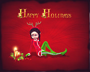 Elf Prints - Happy Holidays Print by John Junek