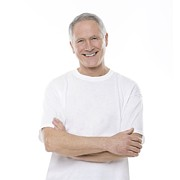 White T-shirt Photos - Happy Senior Man by