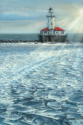 Rays Paintings - Harbor Light by Doug Kreuger