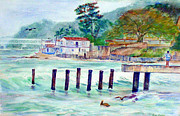Sea Shore Prints Painting Originals - Hard Fishing Day by Estela Robles