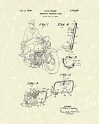 Bicycle Drawings - Harley Motorcycle 1934 Patent Art by Prior Art Design