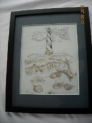 Glass Etching Glass Art - Hatteras and Horseshoe Crabs by Doris Lindsey