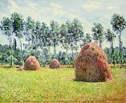 Giverny Prints - Haystacks at Giverny Print by Claude Monet